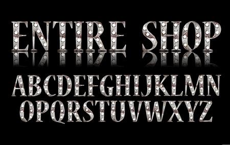 Silver 3D Broadway Alphabet. On black background. Eps 10 Vector Editable