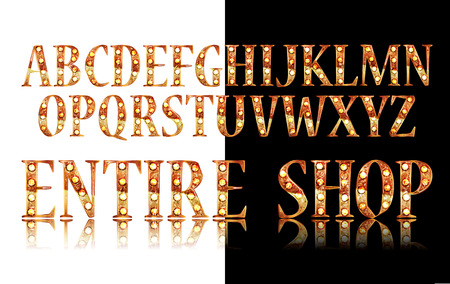 Gold 3D Broadway Alphabet. On black and white background.