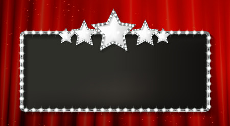 Marquee banner with stars, and realistic metal texture, EPS 10, vector illustration
