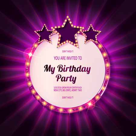 You are invited to a birthday party. Card in vintage cinematic style. In a beautiful gold frame with stars. Vector illustration