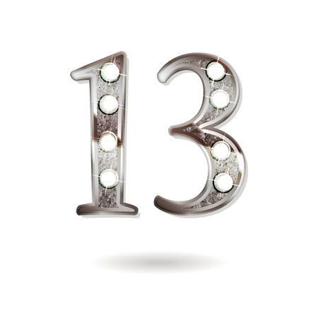13th silver anniversary icon, 13 years birthday celebration. Isolated on white background.