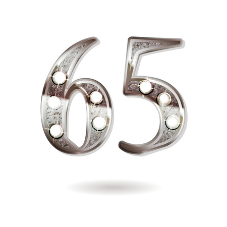 65th silver anniversary logo, ten years birthday celebration solated on white background