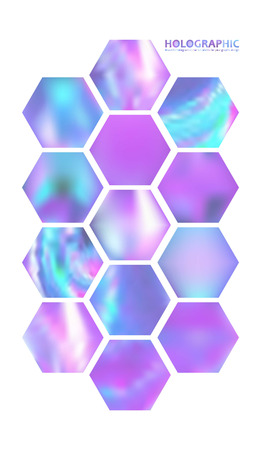 Fluid colors backgrounds set, Holographic effect for gift card, cover, poster, brochure, magazine template.