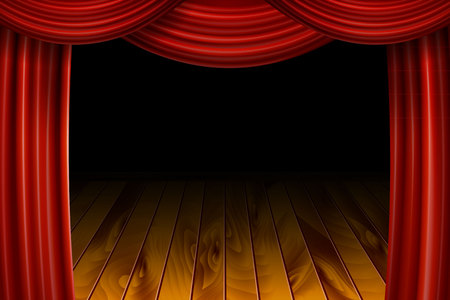 Open Red Velvet Movie Curtains with Black Screen.. With a wooden stage. Vector illustration.