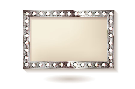 Antique silver frame isolated. Vector illustration