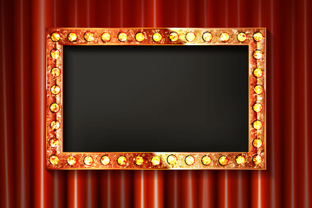 Gold frame with light bulbs on the background of the stage with a red curtain. Vector illustration