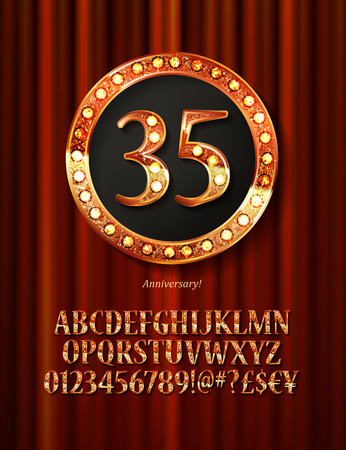 Golden alphabet with show lamps isolated on on a background of red curtain. Example of a digit in a gold round frame. Anniversary 35. Vector liiustration Illustration