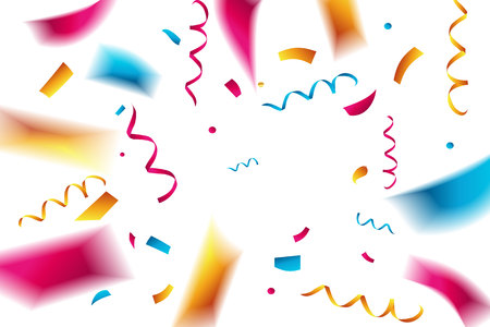Celebration background template with confetti and red ribbons Vector illustration
