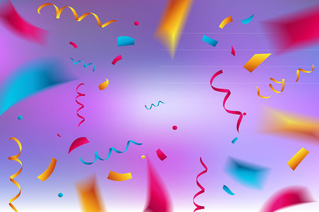 Celebration background template with confetti and color ribbons Vector illustration