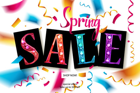 Spring sale banner template design. For your online store. Vector illustration