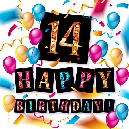14 years anniversary vector illustration, banner, logo, icon, symbol. Graphic design element with flag, balloon, ribbon confetty Birthday greeting event celebration