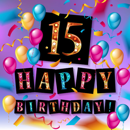 15th birthday banner with colorful baloons on a purple background