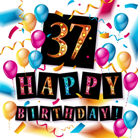 37th Years Anniversary Celebration Design, balloons and ribbon, Colorful design elements for banner, invitation, greeting card your thirty seven birthday celebration party.