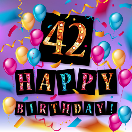 42 년 기념일, 생일 축하 기쁨 축하. 당신의 독특한 인사말 카드, 배너, 생일 초대에 대 한 화려한 골드 풍선 기쁨 색종이와 벡터 일러스트 레이 션, 기념일을 축 하합니다.