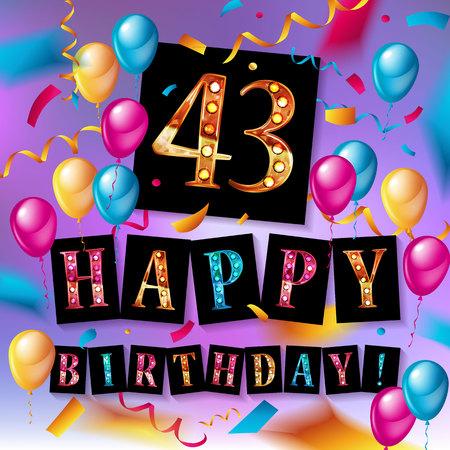 43 Years Birthday Celebration vector illustration Illustration