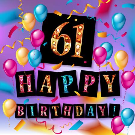 61st happy birthday poster template vector illustration