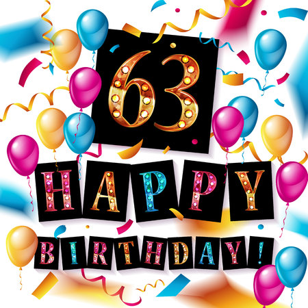 63rd happy birthday poster template vector illustration