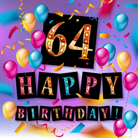 64th happy birthday poster template vector illustration