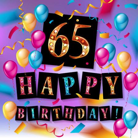 65th happy birthday poster template vector illustration Illustration