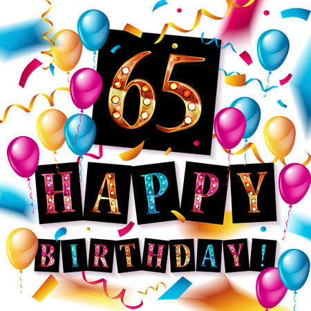 65th happy birthday poster template vector illustration Illusztráció