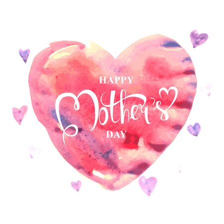 Happy Mothers day. Card or poster template with flower and hand lettering inscription on pink abstract heart shaped blurred background. Decoration for Mothers Day design. Font illustration.