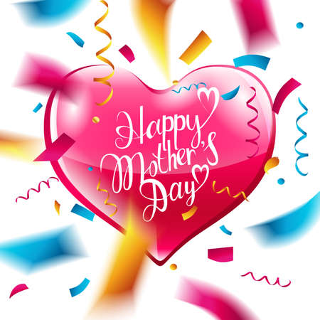 Happy mothers day lettering pink heart and confetti. Vector illustration Illustration