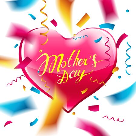 Happy Mothers day lettering pink heart and confetti vector illustration. Illustration