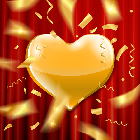 Golden heart with confetti on red curtain background. Vector illustration.