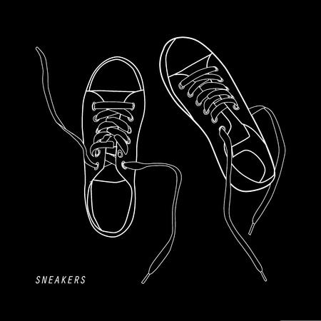 illustration of shoes isolated on black. Vector illustration Ilustração