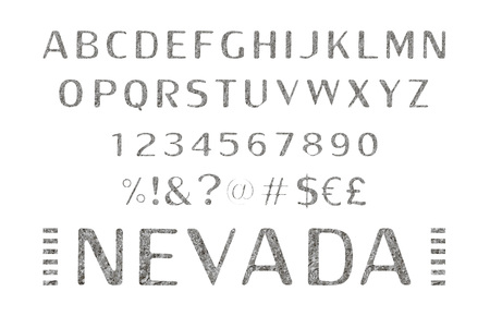 Font. Alphabet. Script. Typeface. Label. Modern Nevada typeface For labels and different type designs