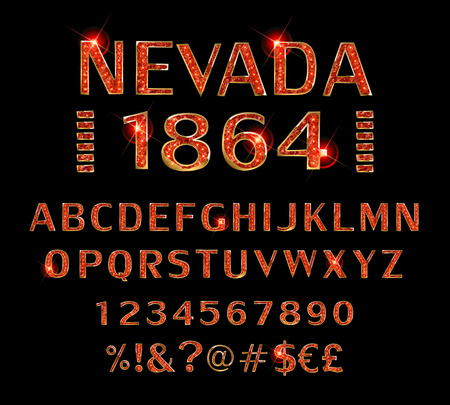 Alphabet, label modern Nevada 1864 typeface for labels and different type designs.
