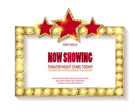 Signe de théâtre ou signe de cinéma avec des étoiles sur fond blanc. Vecteur d'enseigne rétro or. Vecteurs