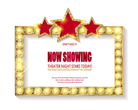 Theater sign or cinema sign with stars on white background. Gold retro signboard vector.