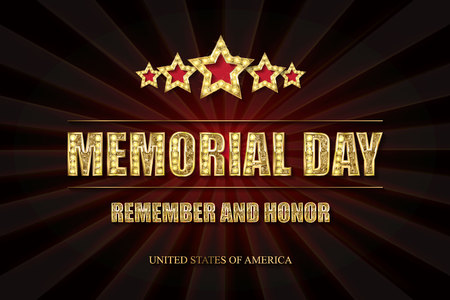 Memorial day background vector art with 5 gold stars. Remember and honor. Illustration Vettoriali