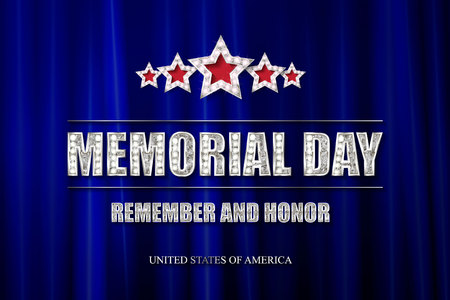 Memorial day background vector art with 5 silver stars. Remember and honor illustration.