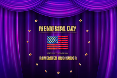 Memorial day banner in a circle of Golden stars. Against the background of the violet curtain. Vector illustration