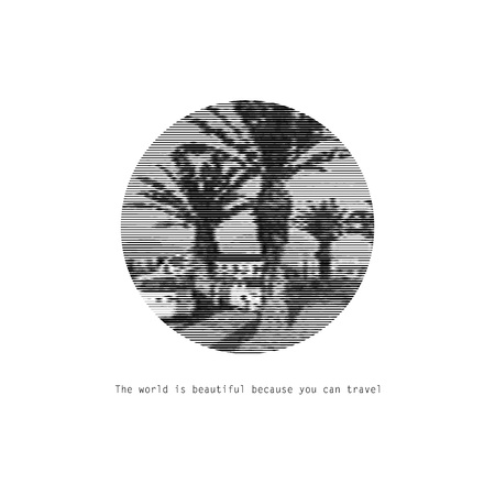 Motivational picture of travel. Black and white graphic palm drawn.