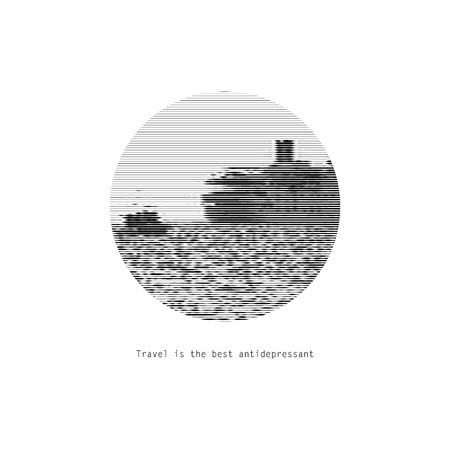 Motivational picture of travel. Black and white graphic ship logo.. Vector illustration