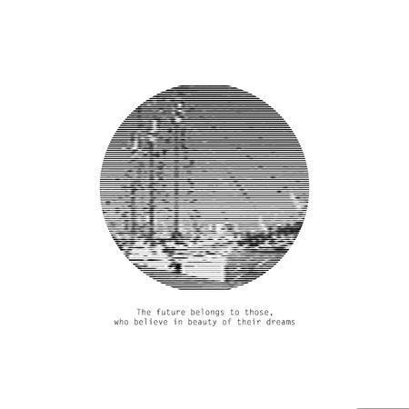 Foto motivazionale del viaggio. Logo grafico in bianco e nero della nave. Illustrazione di vettore