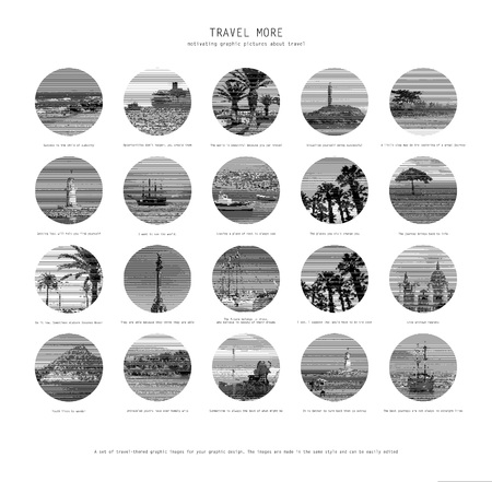 20 Motivational pictures of travel. Vector black and white pictures for your graphic design. Vettoriali