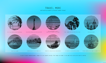 10 Motivational pictures of travel. Vector black and white pictures for your graphic design.