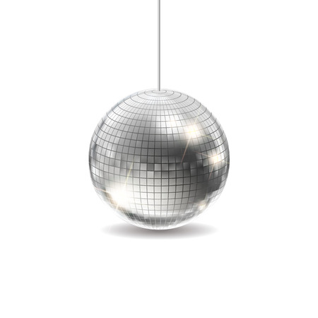 Silver Disco Ball Vector. Dance Night Club Retro Party Classic Light Element. Silver Mirror Ball. Disco Design. Isolated On White Background Illustration