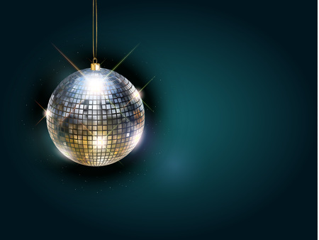 Disco ball with bright rays, color toned night party background. Vector illustration