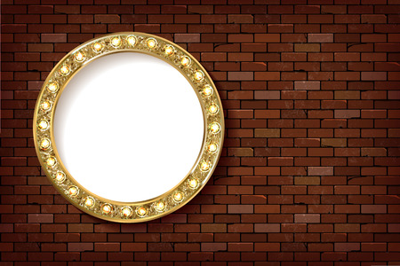 3D render Marquee light circle board sign on brick wall backgroud. Vector illustration