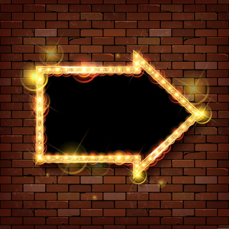 Red frame arrow with light bulbs on the background of the brick wall. Vector illustration