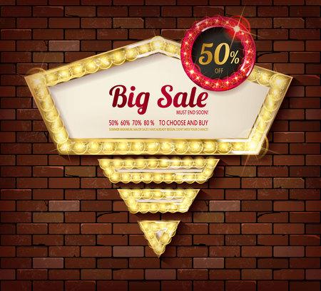 Big discount frame on brick wall background. Vector illustration