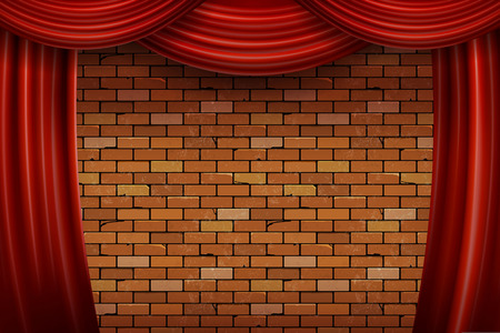 Red curtains on brick wall background. Vector illustration Banco de Imagens - 103306307