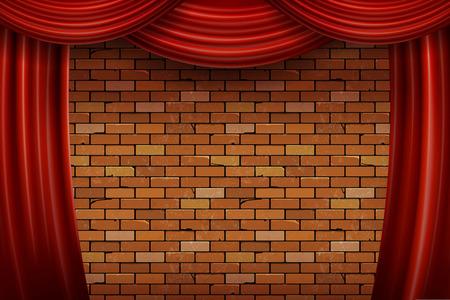 Rode gordijnen op bakstenen muur achtergrond. Vector illustratie