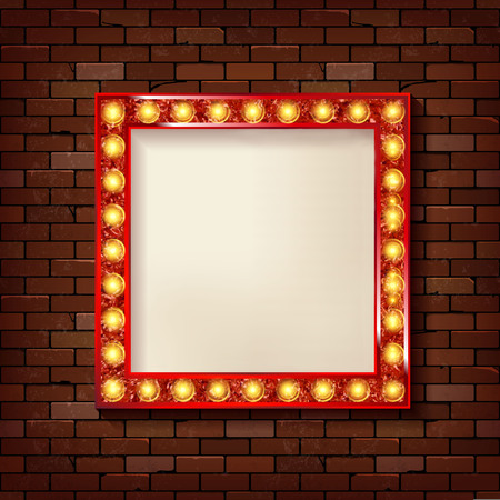 3D render Marquee light square board sign on brick wall backgroud. Vector illustration