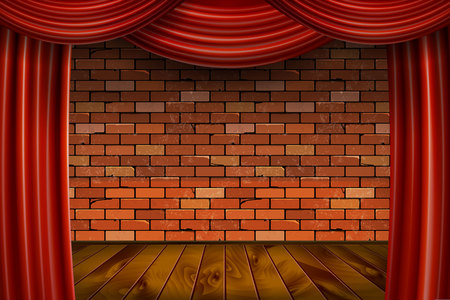 Red curtains on brick wall background. Vector illustration